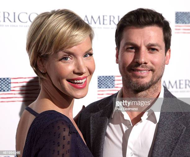 Actress Ashley Scott and her husband Steve Hart attend the Los Angeles screening of 'Americons' at ArcLight Cinemas on January 22 2015 in Hollywood...
