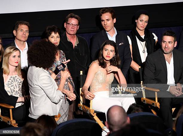 Actress Ashley Sutton actress Colleen McGrann Lara Vosburgh and director Seth Grossman attend the premiere of Inner Demons during the 2014 Los...