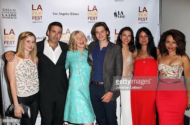 Actress Ashley Sutton director Seth Grossman producer Robin Schorr actors Morgan McClellan Lara Vosburgh Kate Whitney and Susan Ateh attend the...