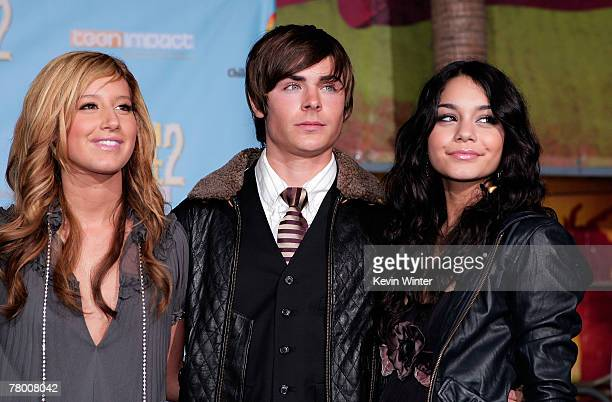Actress Ashley Tisdale actor Zac Efron and actress Vanessa Anne Hudgens arrive at the DVD premiere of Disney's High School Musical 2 held at the El...