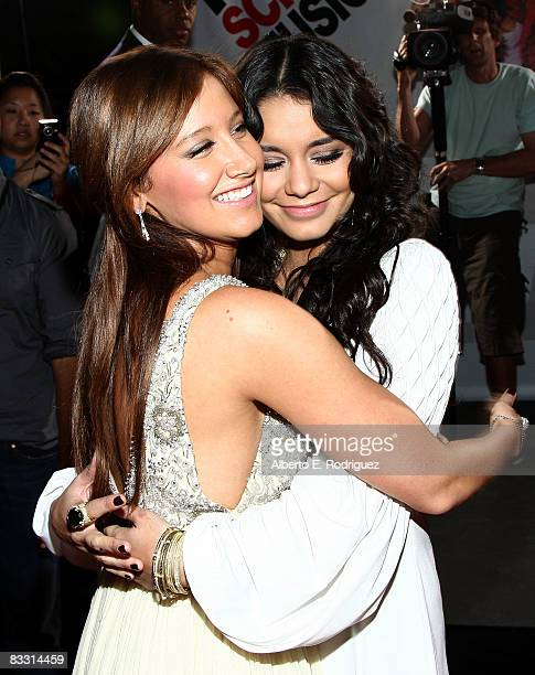 """Actress Ashley Tisdale and actress Vanessa Hudgens arrive at the premiere of Disney's """"High School Musical 3: Senior Year"""" held at the Galen Center..."""