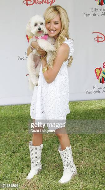 Actress Ashley Tisdale and her dog Blondie attend A Time for Heroes Celebrity Carnival sponsored by Disney to benefit the Elizabeth Glaser Pediatric...