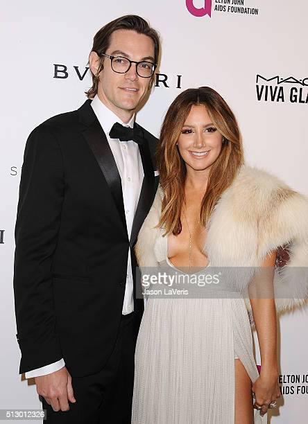 Actress Ashley Tisdale and husband Christopher French attend the 24th annual Elton John AIDS Foundation's Oscar viewing party on February 28 2016 in...