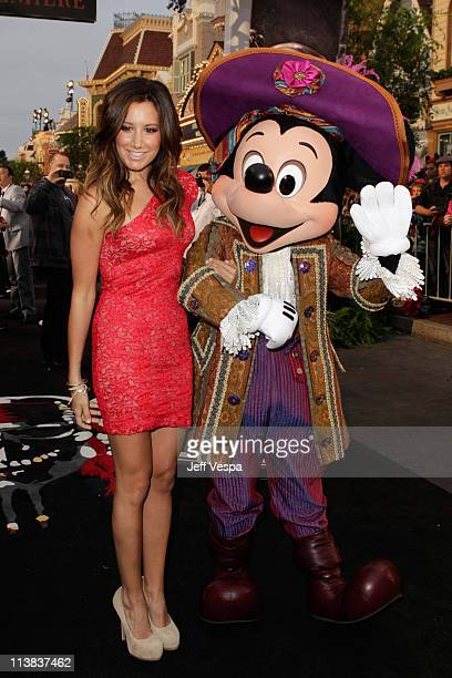 Actress Ashley Tisdale and Mickey Mouse arrive at the world premiere of 'Pirates of the Caribbean On Stranger Tides' at Disneyland on May 7 2011 in...