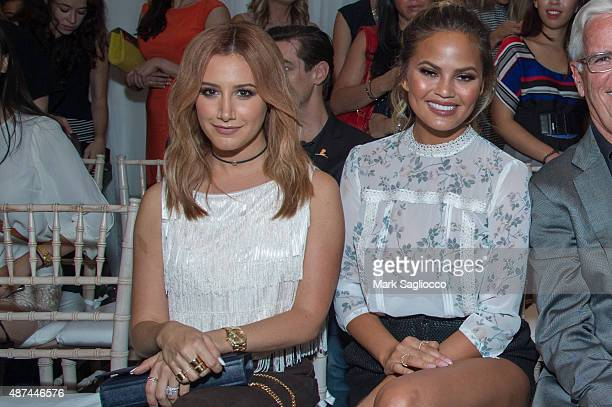 Actress Ashley Tisdale and Model Chrissy Tiegen attend the Lauren Conrad Spring 2016 during New York Fashion Week at Skylight Modern on September 9...
