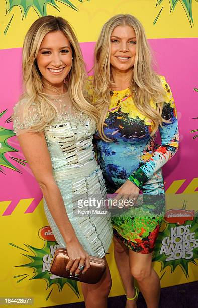 Actress Ashley Tisdale and singer Fergie arrive at Nickelodeon's 26th Annual Kids' Choice Awards at USC Galen Center on March 23 2013 in Los Angeles...