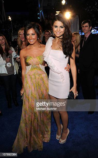 Actress Ashley Tisdale and singer Selena Gomez arrive at the 2011 People's Choice Awards at Nokia Theatre LA Live on January 5 2011 in Los Angeles...