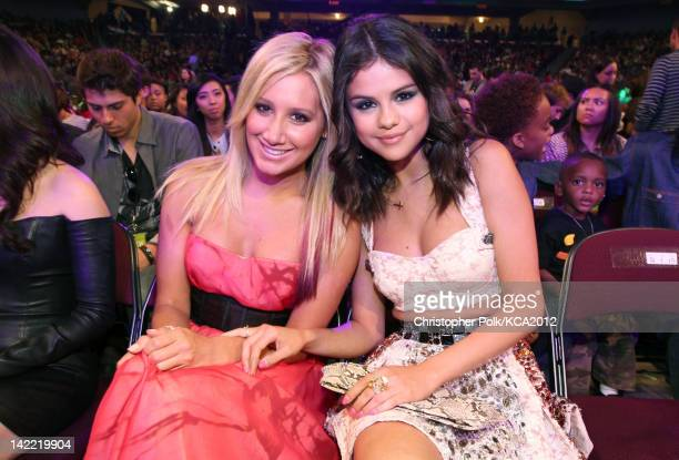 Actress Ashley Tisdale and singer Selena Gomez at Nickelodeon's 25th Annual Kids' Choice Awards held at Galen Center on March 31 2012 in Los Angeles...