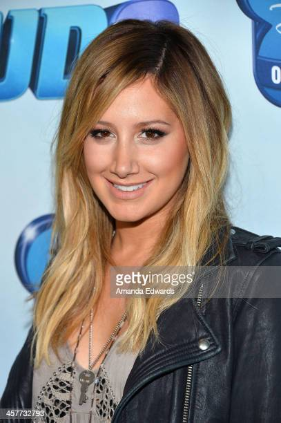 """Actress Ashley Tisdale arrives at the Disney Channel's Original Movie """"Cloud 9"""" red carpet premiere on December 18, 2013 in Burbank, California."""