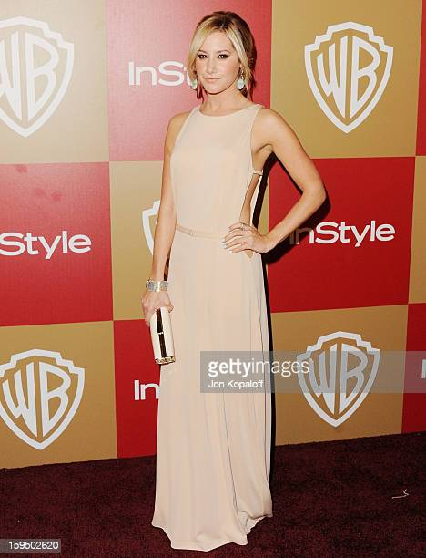 Actress Ashley Tisdale arrives at the InStyle And Warner Bros Golden Globe Party at The Beverly Hilton Hotel on January 13 2013 in Beverly Hills...