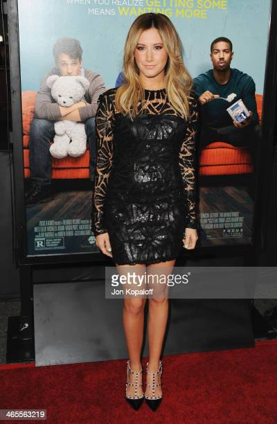 Actress Ashley Tisdale arrives at the Los Angeles Premiere 'That Awkward Moment' at Regal Cinemas LA Live on January 27 2014 in Los Angeles California
