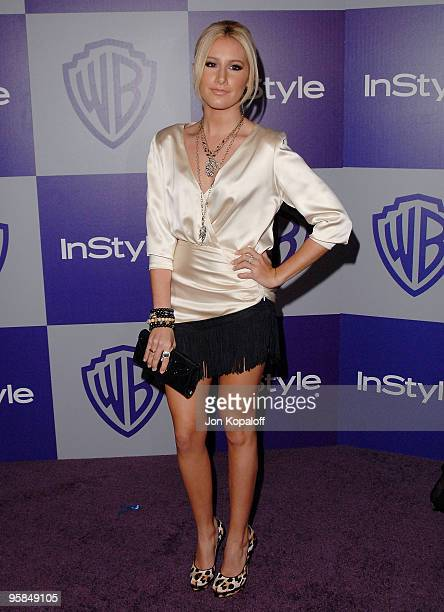 Actress Ashley Tisdale arrives at the Warner Brothers/InStyle Golden Globes After Party at The Beverly Hilton Hotel on January 17 2010 in Beverly...