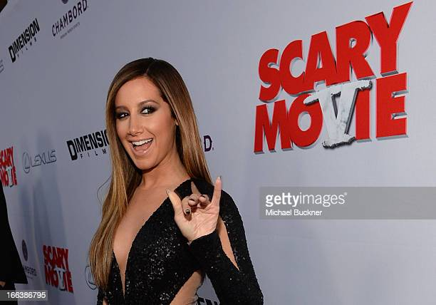 Actress Ashley Tisdale arrives for the premiere of Dimension Films' Scary Movie 5 at ArcLight Cinemas Cinerama Dome on April 11 2013 in Hollywood...