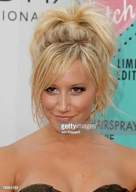 Actress Ashley Tisdale arrives to the Los Angeles premiere of New Line Cinema's Hairspray held at Mann Village Theatre on July 10 2007 in Westwood...