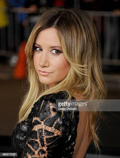 Actress Ashley Tisdale arrives to the Los Angeles premiere of 'That Awkward Moment' at Regal Cinemas LA Live on January 27 2014 in Los Angeles...