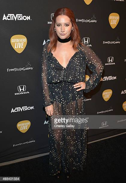 Actress Ashley Tisdale attends Activision's Guitar Hero Live launch party in Los Angeles on October 19, 2015.