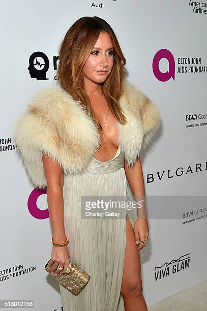 Actress Ashley Tisdale attends Neuro at the 24th Annual Elton John AIDS Foundation's Oscar Viewing Party at The City of West Hollywood Park on...