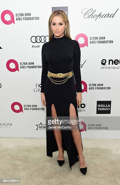 Actress Ashley Tisdale attends the 23rd Annual Elton John AIDS Foundation Academy Awards Viewing Party on February 22 2015 in Los Angeles California