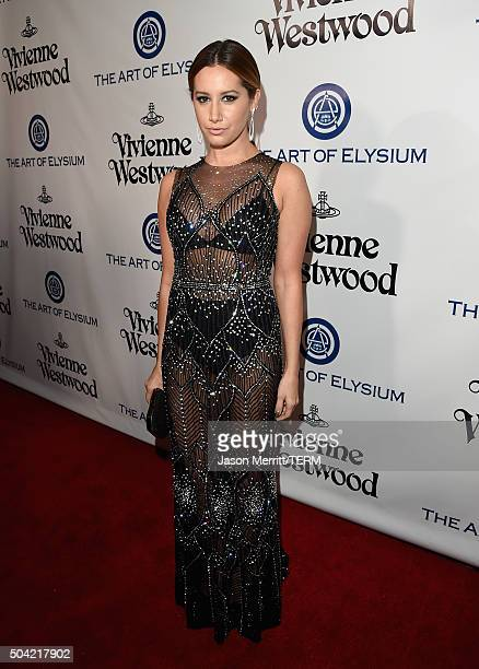 Actress Ashley Tisdale attends The Art of Elysium 2016 HEAVEN Gala presented by Vivienne Westwood Andreas Kronthaler at 3LABS on January 9 2016 in...