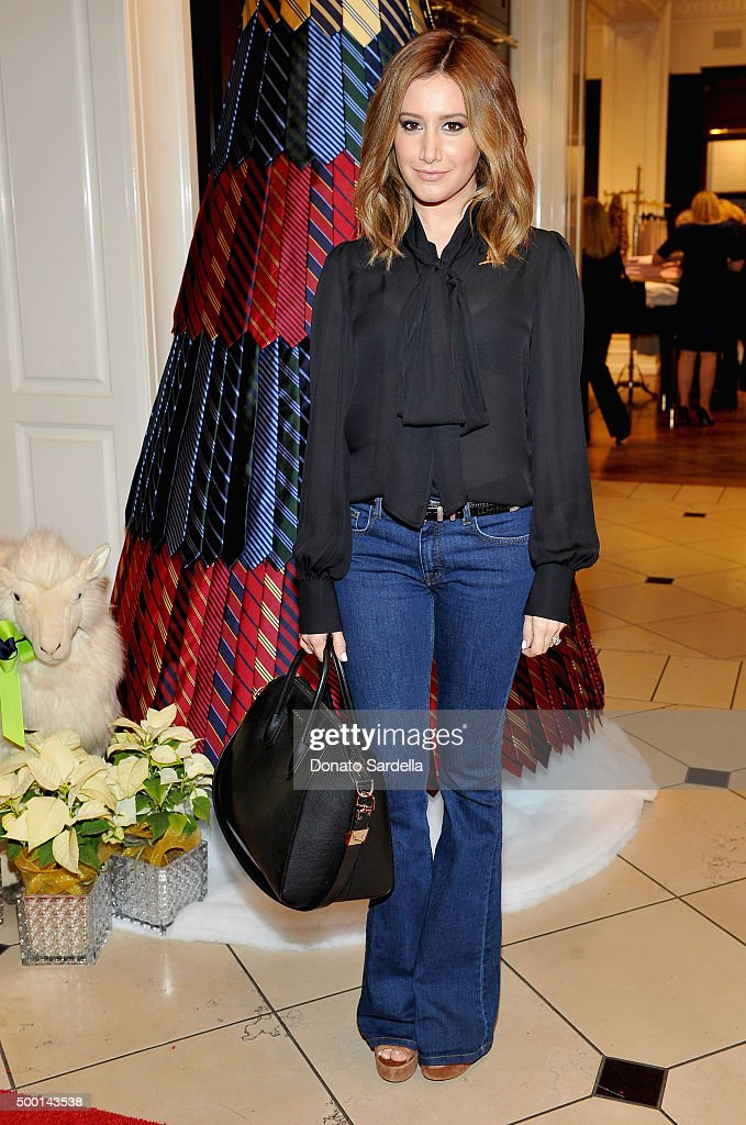 Actress Ashley Tisdale attends the Brooks Brothers holiday party with St Jude Children's Research Hospital at Brooks Brothers on Rodeo Drive on December 5, 2015 in Beverly Hills, California.