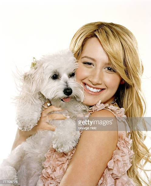 Actress Ashley Tisdale is photographed with her Maltipoo, Blondie, for Seventeen Magazine on April 12 2006 in Los Angeles, California. PUBLISHED...