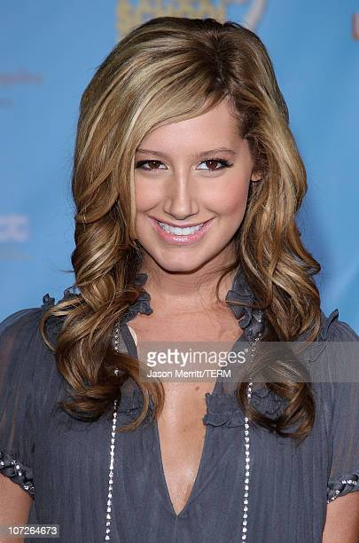 Actress Ashley Tisdale poses at the DVD release of Disney Channels' 'High School Musical 2 Extended Edition' at The El Capitan Theatre on November 19...
