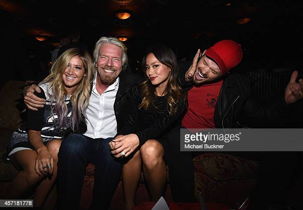 Actress Ashley Tisdale Sir Richard Branson Founder Virgin Group actress Jamie Chung and actor Kellan Lutz attend the Virgin America Dallas Love Field...