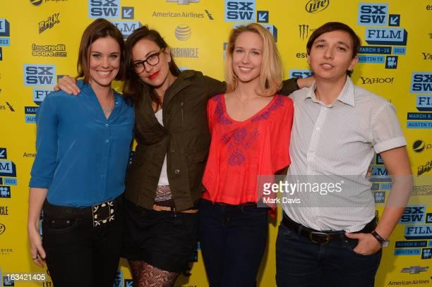 Actress Ashley Williams director Sarah Gertrude Shapiro actress Anna Camp and cinematographer Ava Berkofsky attend the Shorts Program 1 Photo Op at...