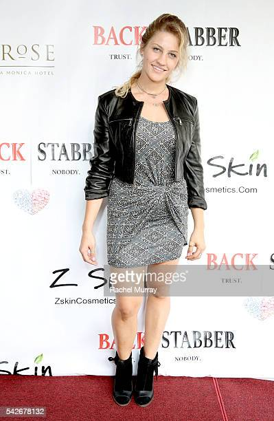 Actress Ashly Williston attends the red carpet premiere for the new Amazon series 'Back Stabber' at the Ambrose Boutique Hotel on June 23 2016 in...