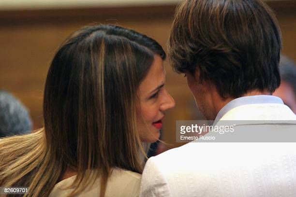 Actress Asia Argento and director Michele Civetta attend the wedding of Asia Argento and Michele Civetta/ gets married on August 27, 2008 in Arezzo,...