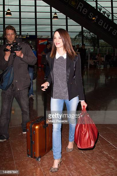 Actress Asia Argento arrives at Nice airport on May 20 2012 in Nice France
