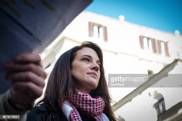 Actress Asia Argento who spoke out against Harvey Weinstein who allegedly sexually assualted her demonstrates against sexual harassment violence and...