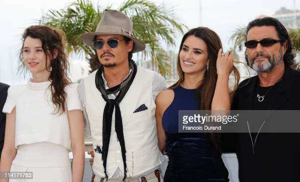 """Actress Astrid Berges-Frisbey, actor Johnny Depp, actress Penelope Cruz and actor Ian McShane attend the """"Pirates of the Caribbean: On Stranger..."""