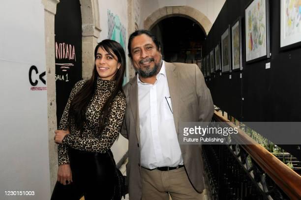 Actress Astrid Romo and Julio Barcenas pose for photos during Emma film press conference at La Casa del Cine Mx. On December 15 2020 in Mexico City,...