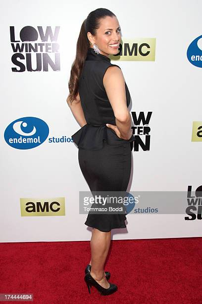 Actress Athena Karkanis attends the AMC's New Series Low Winter Sun Los Angeles premiere held at ArcLight Hollywood on July 25 2013 in Hollywood...