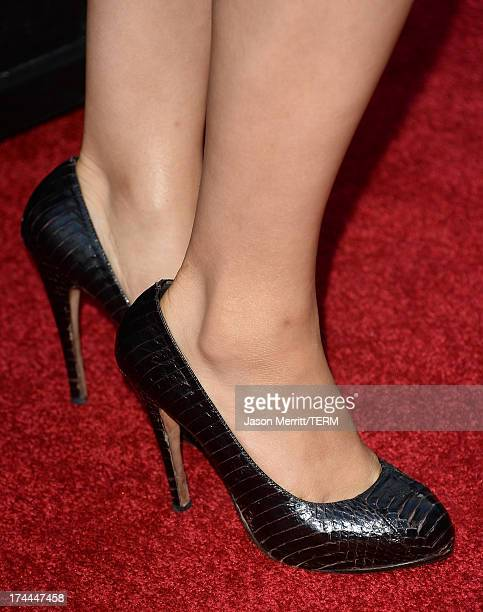 Actress Athena Karkanis attends the AMC's New Series 'Low Winter Sun' Los Angeles premiere held at ArcLight Hollywood on July 25 2013 in Hollywood...