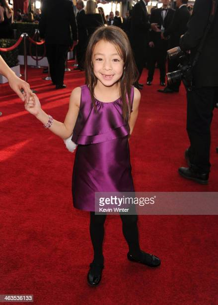 Actress Aubrey AndersonEmmons attends 20th Annual Screen Actors Guild Awards at The Shrine Auditorium on January 18 2014 in Los Angeles California