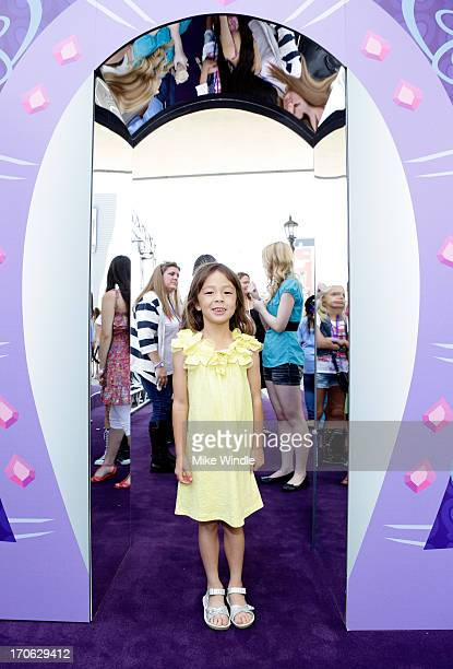 Actress Aubrey AndersonEmmons attends the 'Purple Carpet' premiere of 'My Little Pony Equestria Girls' presented by Hasbro Studios and LAFF at Regal...