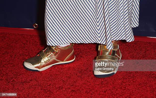 Actress Aubrey AndersonEmmons shoes detail attends the 10th anniversary celebration of The Beatles LOVE by Cirque du Soleil at The Mirage Hotel...