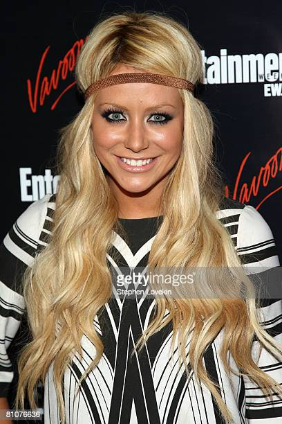 Actress Aubrey O'Day arrives for the Entertainment Weekly and Vavoom annual upfront party at the Bowery Hotel on May 13 2008 in New York City