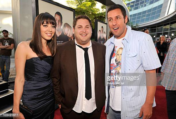 "Actress Aubrey Plaza, Actor Jonah Hill and Actor/Producer Adam Sandler arrive on the red carpet for the Los Angeles premiere of ""Funny People"" held..."