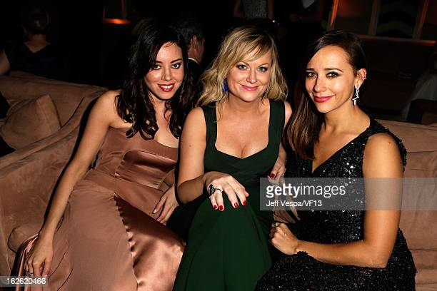 Actress Aubrey Plaza, Amy Poehler, and Rashida Jones attend the 2013 Vanity Fair Oscar Party hosted by Graydon Carter at Sunset Tower on February 24,...