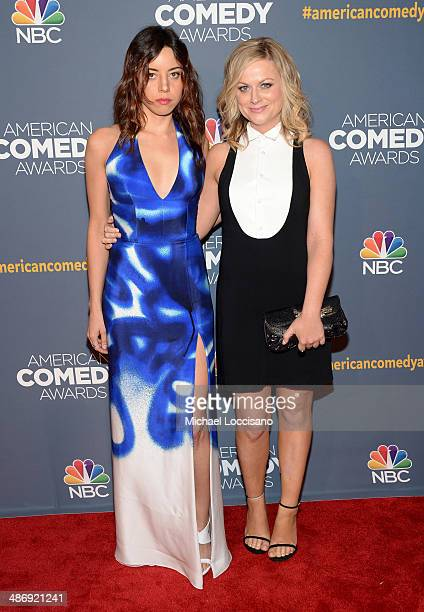 Actress Aubrey Plaza and comedian Amy Poehler attend 2014 American Comedy Awards at Hammerstein Ballroom on April 26, 2014 in New York City.