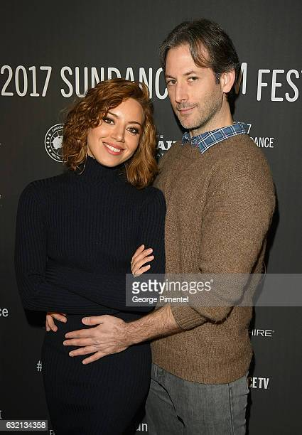 """Actress Aubrey Plaza and director Jeff Baena attend """"The Little Hours"""" premiere during day 1 of the 2017 Sundance Film Festival at Library Center..."""