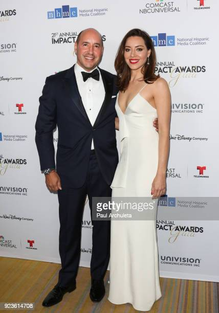 Actress Aubrey Plaza and her Father David Plaza attend the National Hispanic Media Coalition's 21st annual Impact Awards at the Beverly Wilshire Four...