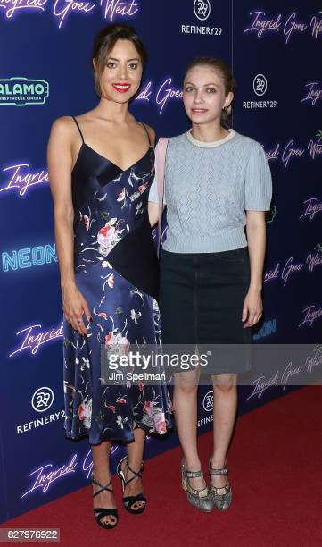 Actress Aubrey Plaza and writer/actress Tavi Gevinson attend The New York premiere of 'Ingrid Goes West' hosted by Neon at Alamo Drafthouse Cinema on...