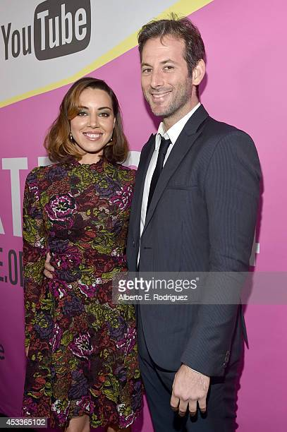 """Actress Aubrey Plaza and writer/director Jeff Baena attend the screening of """"Life After Beth"""" with Father John Misty in concert during Sundance NEXT..."""