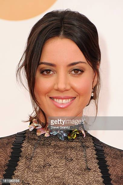 Actress Aubrey Plaza arrives at the 65th Annual Primetime Emmy Awards held at Nokia Theatre LA Live on September 22 2013 in Los Angeles California