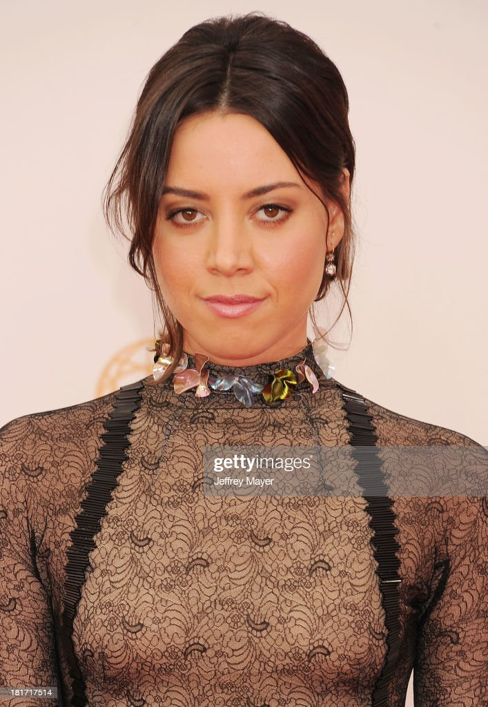 Actress Aubrey Plaza arrives at the 65th Annual Primetime Emmy Awards at Nokia Theatre L.A. Live on September 22, 2013 in Los Angeles, California.