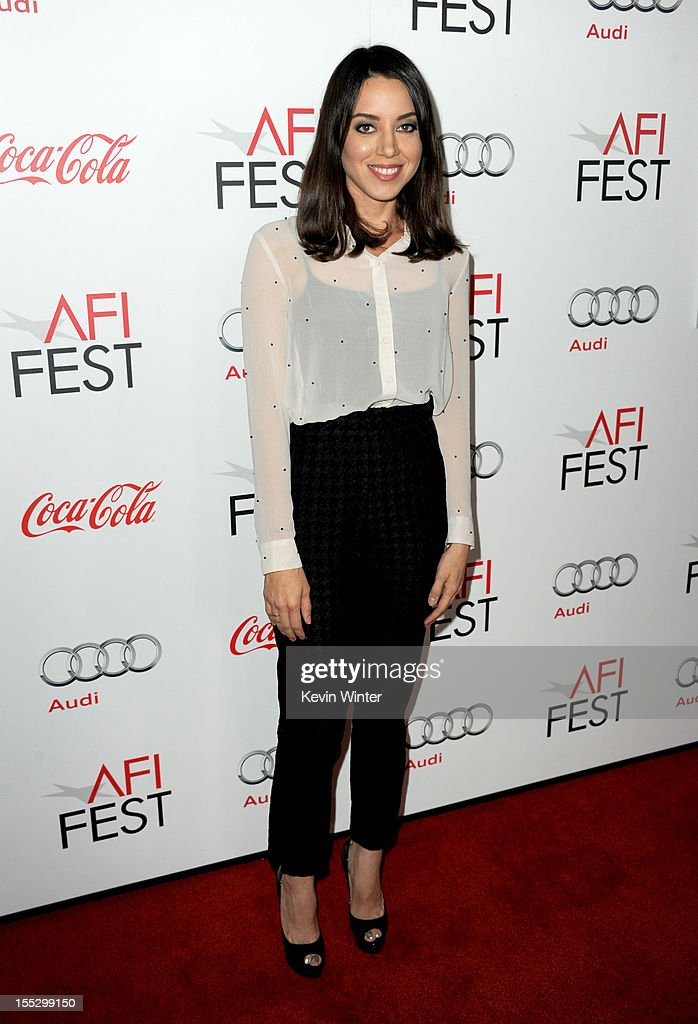 Actress Aubrey Plaza arrives at the 'Los Angeles Times Young Hollywood' Panel during 2012 AFI Fest 2012 presented by Audi at Grauman's Chinese Theatre on November 2, 2012 in Hollywood, California.